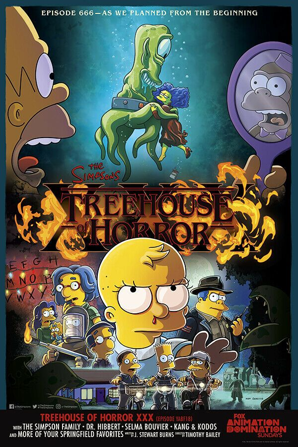 The Simpsons Treehouse Of Horror Cartoon Movie Silk Poster Print