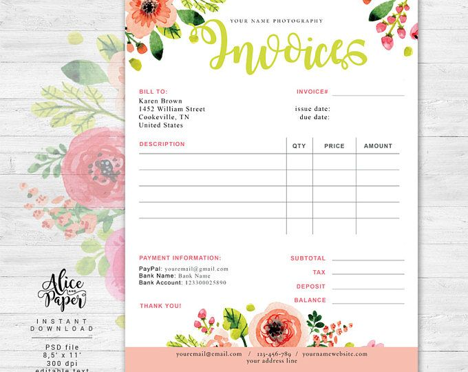 Invoice template, Photography invoice, Business invoice, Receipt - invoice template for photographers