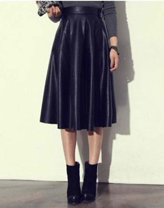 1d370c2afa The Lucy Faux Leather Midi Skirt features a high waist, pleated silhouette  and exposed zipper closure on side. Expandable waist.