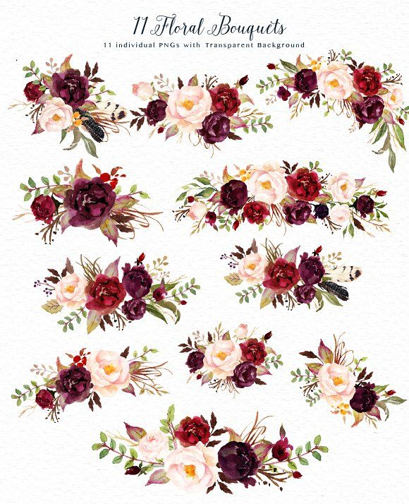 Dark Red Roses Flowers Watercolor Botanical Art Boho: Watercolor Flower Clip Art-Marsala