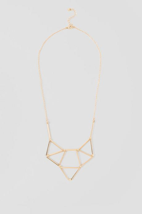 """The Tracy Pendant Necklace features a chic industrial design. Gold geometric cutouts make up the unique pendant of this drop length necklace. Pair with simple studs for an everyday look. <br /> -11"""" drop length<br /> - Nickle & Lead free<br /> - Imported"""