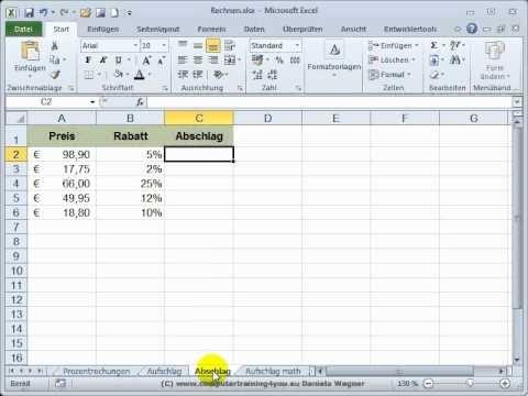 Excel Einstieg 24 Prozentrechnungen Mit Auf Und Abschlag Excel Tipps Tipps Tipps Und Tricks