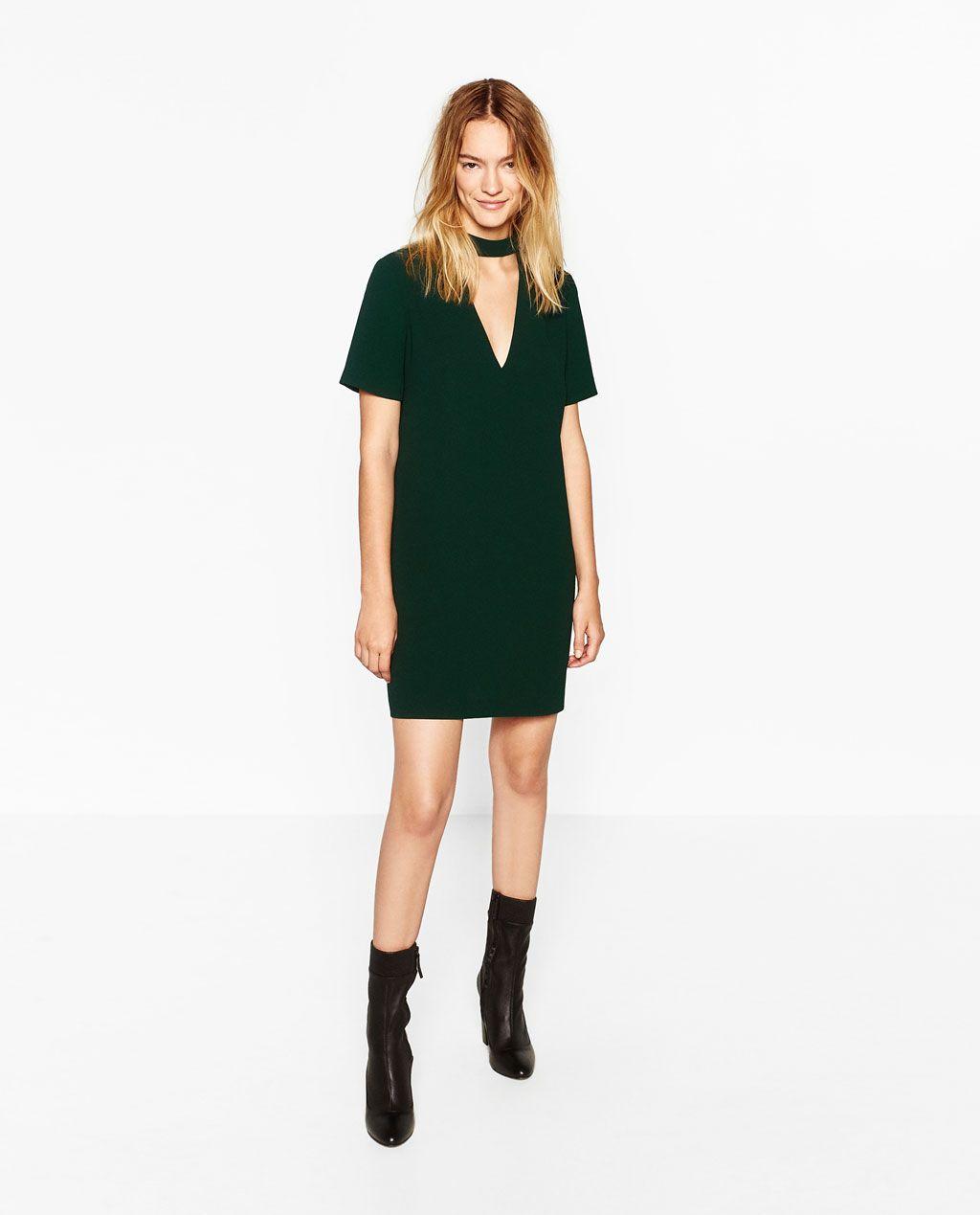 Vestidos ZARA NUEVO Verde Impreso Vestido Manga Larga Talla