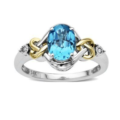 Amazon.com: Love Knot Sterling Silver and 14k Yellow Gold Diamond and Swiss Blue Topaz Ring (0.01 cttw, I-J Color, I3 Clarity), Size 7: Jewelry