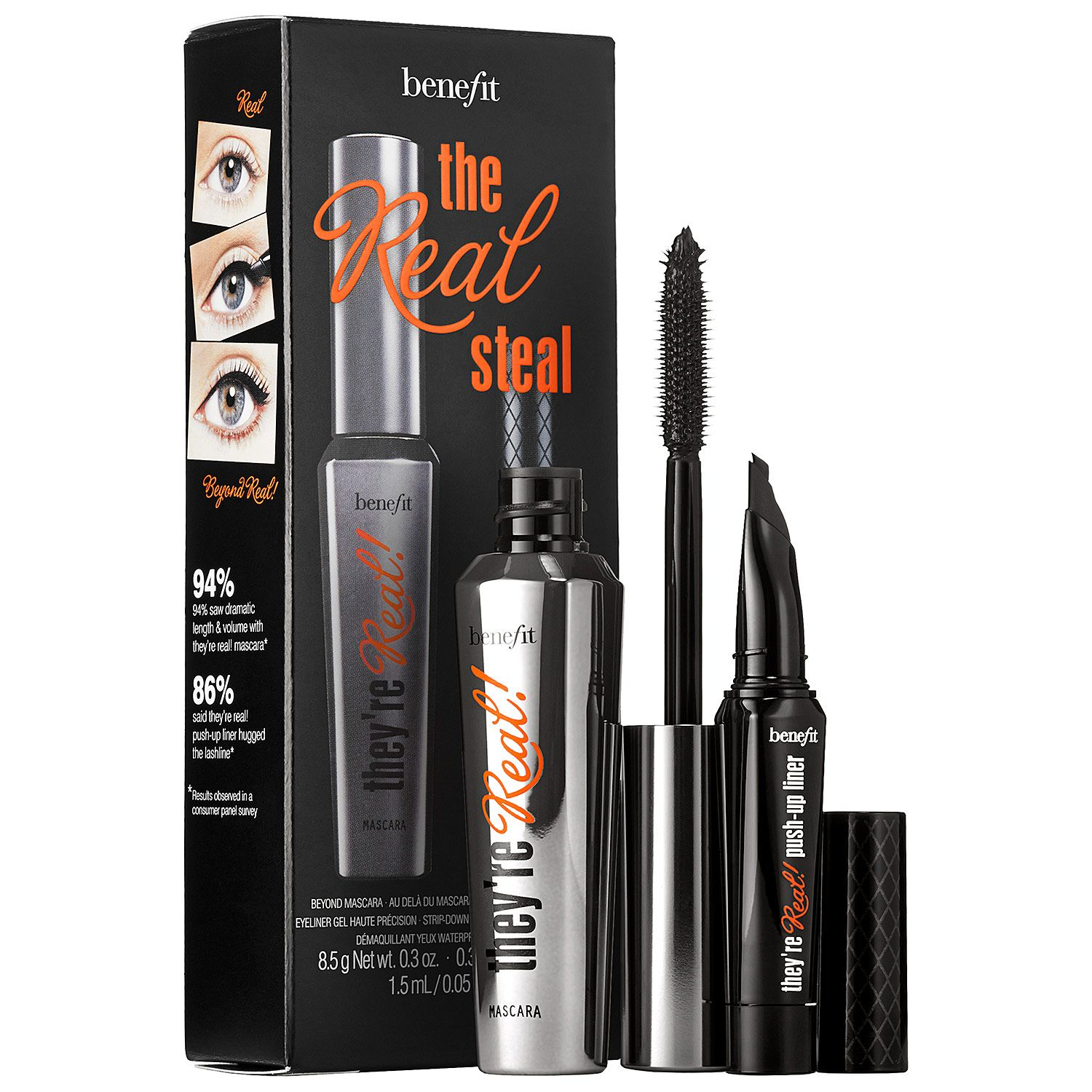 fc0f5dc8215 A limited-edition, eye makeup set featuring a full size They're Real!  Mascara, a mini They're Real! Push-Up Liner, and a They're Real! Remover  sample.