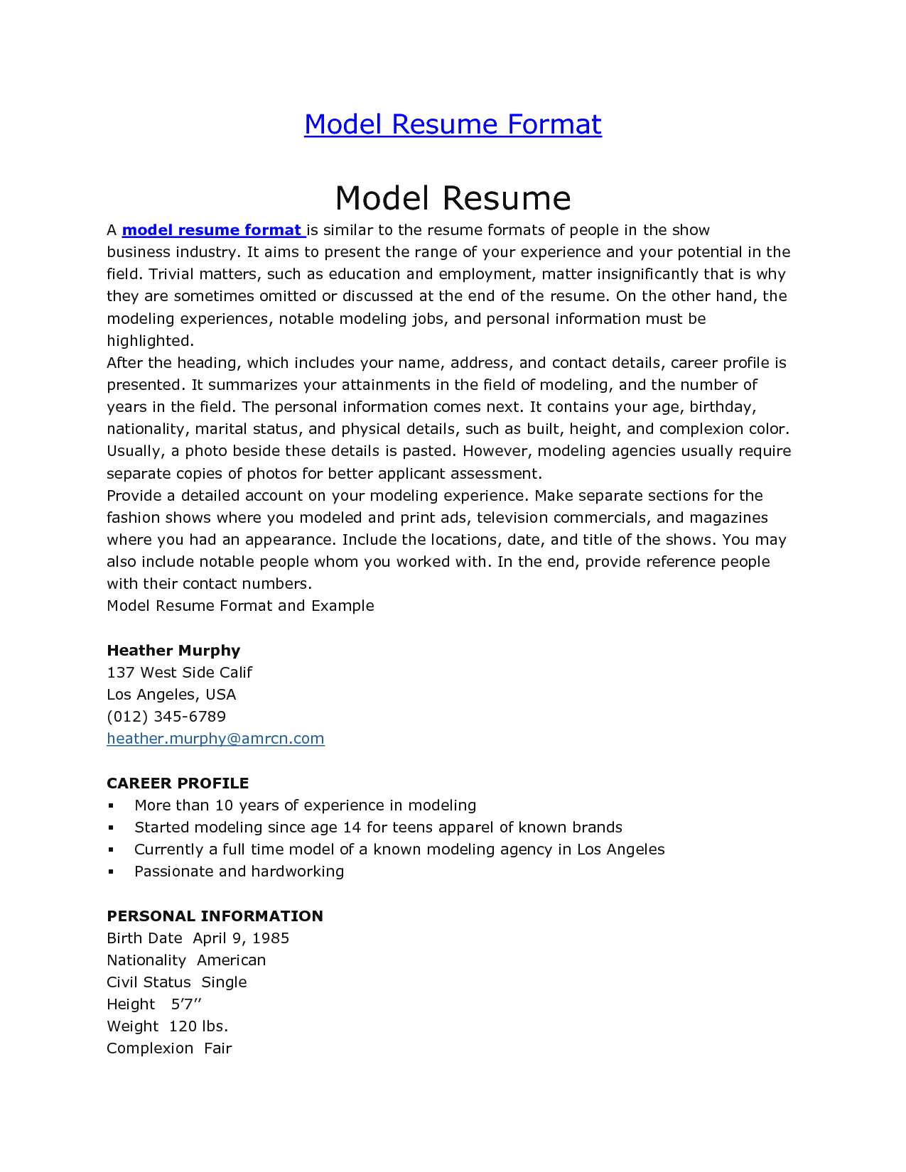resume examples acting sample actors format actor template word