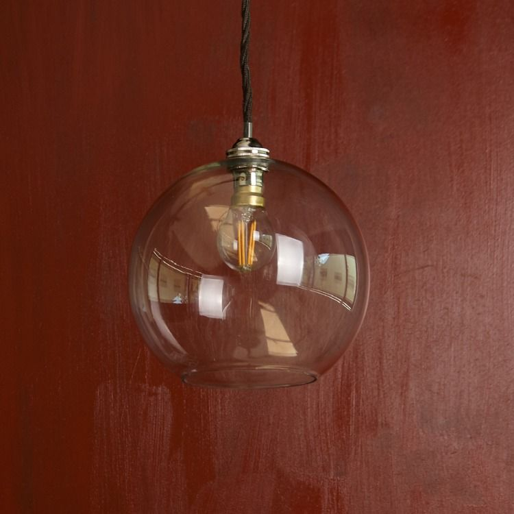 Regular Mundo Pendant Light In Clear Blown Glass With A Classic Kit Antiqued Silver