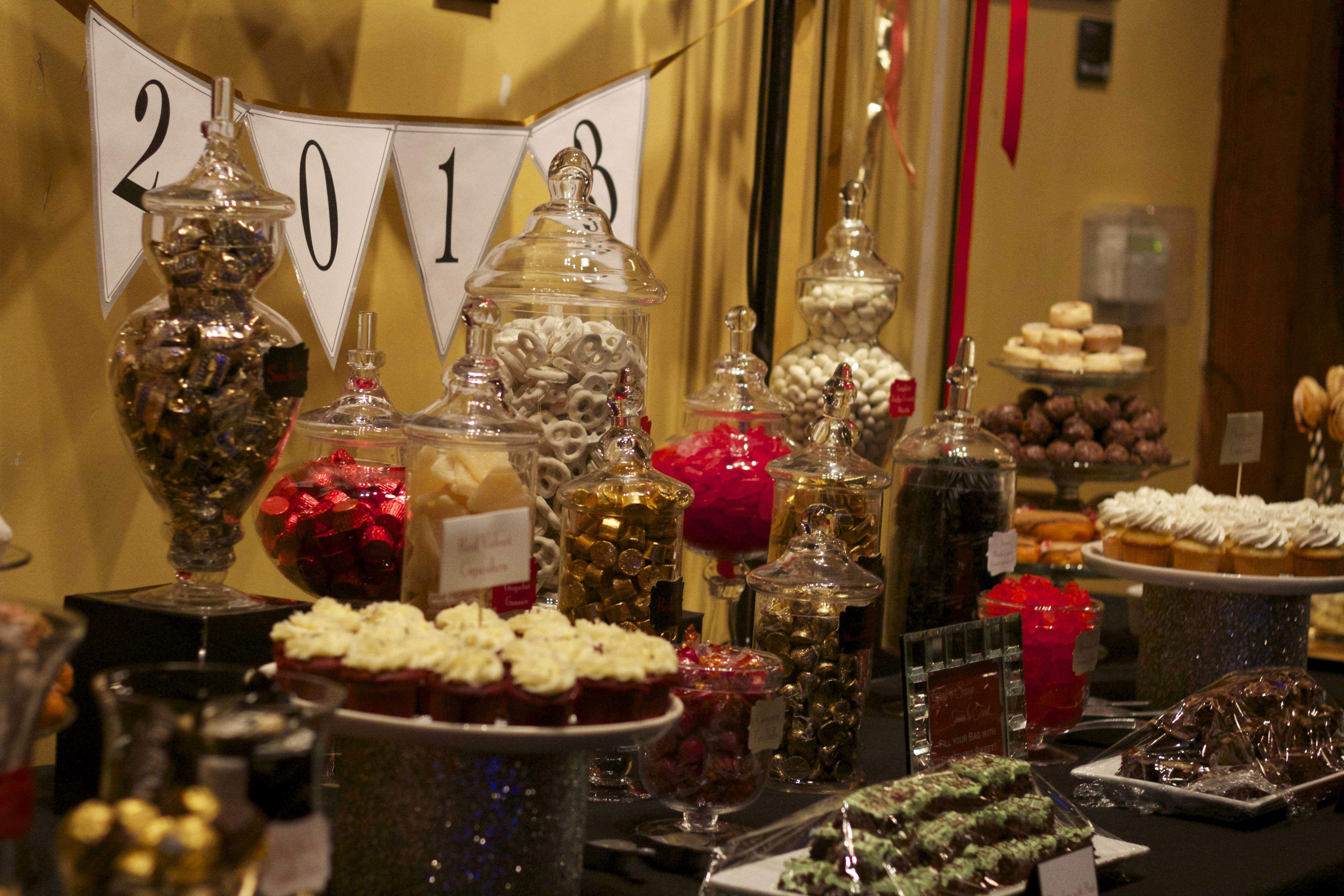 NYE dessert display, red, black, gold, by Blissfully Sweet PDX ...