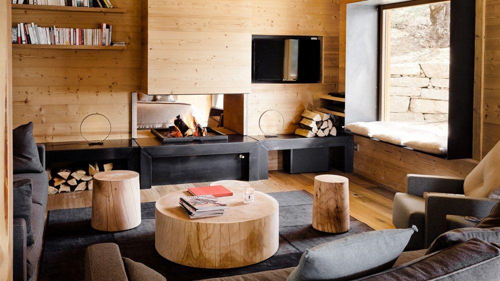 décoration chalet salon bois gris style contemporain | Aménagement ...