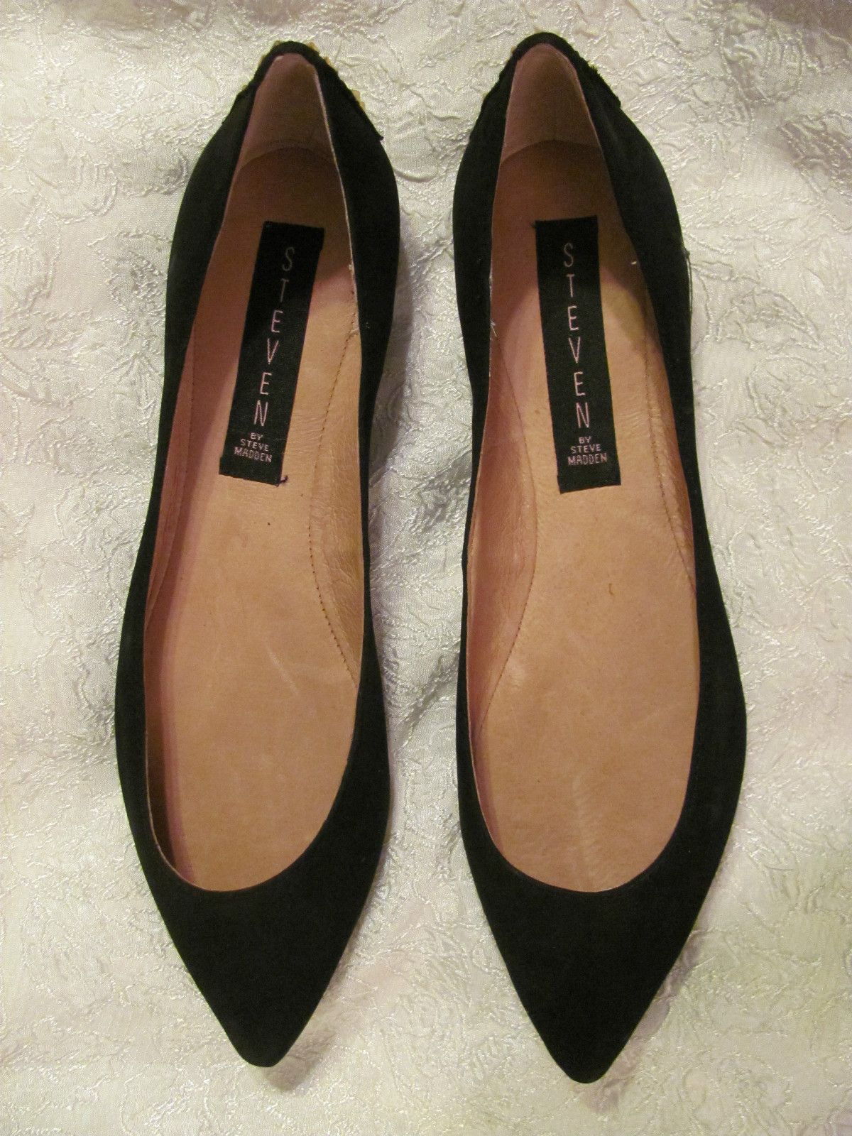39f6e9fd9f4 Steven by Steve Madden Eternal Black Nubuck Leather Sexy Flats Size ...