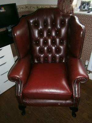 Leather Wing Back Chair-ebay