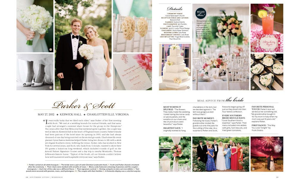 Spring 2013 Issue Of Southern Living Weddings Parker And Scott Photography By Jen Fariello Martha Stewart Weddings Keswick Photo Wall
