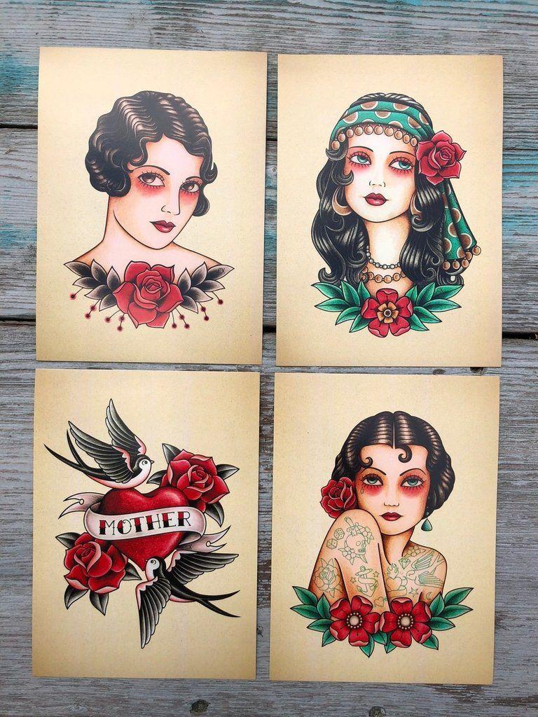 Feminine Mystique Traditional Tattoo Collectors Prints