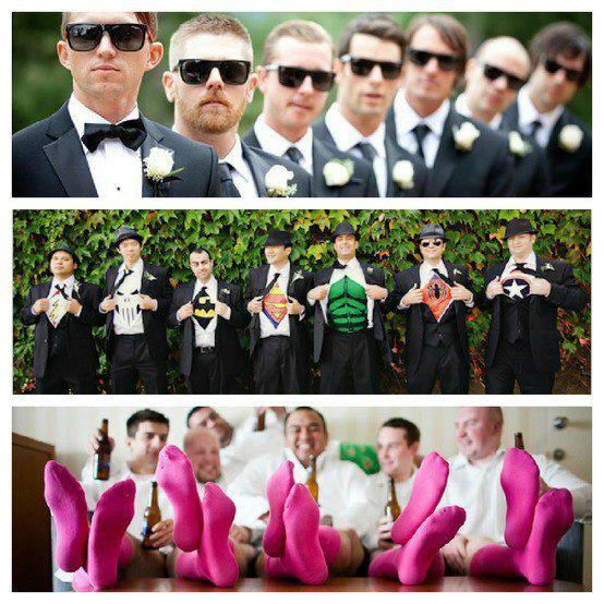 Groomsmen ideas - matching shades (David's in white, best man in streamline & groomsmen in aviators), superheros & red socks to tie in color