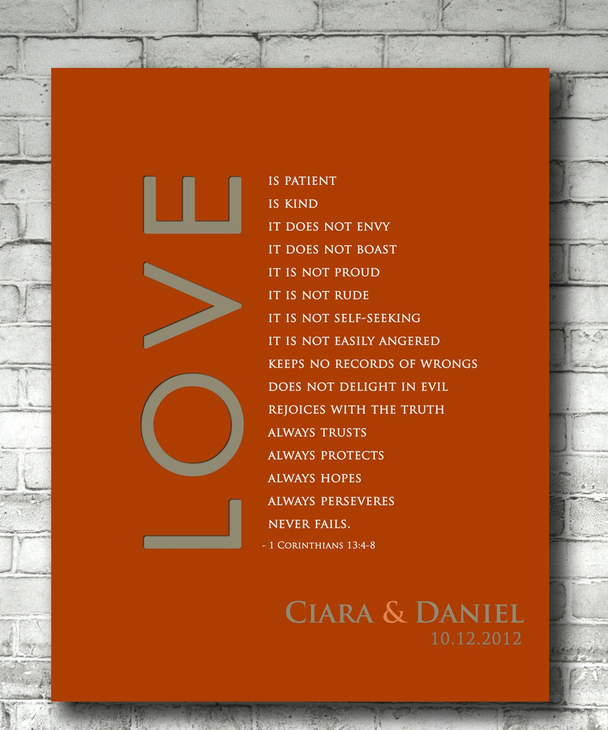 Personalized Wedding Anniversary Gift Print 1 Corinthians 13 Love Is Patient Bible Verse With