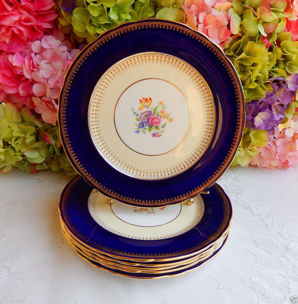 6 Vintage Aynsley Porcelain Dinner Plates ~ Hatfield ~ Cobalt ~ Gold ~ Flowers #Aynsley & 6 Vintage Aynsley Porcelain Dinner Plates ~ Hatfield ~ Cobalt ~ Gold ...