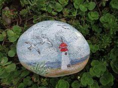JuniStrand+Leuchtturm,+Deich,+Strand,+Landschaft+von+Holz+und+Pinselstrich+auf+DaWanda.com