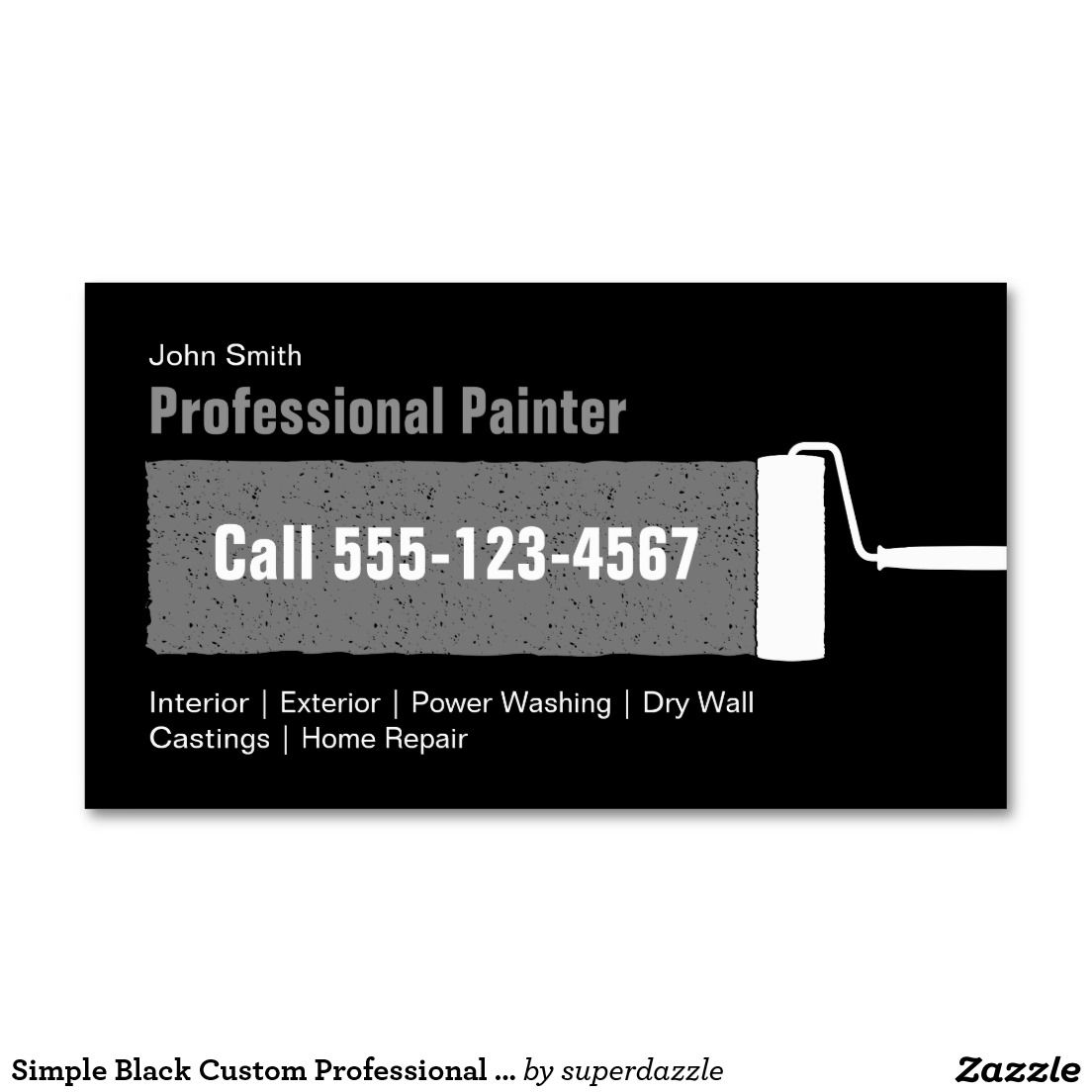 Simple Black Custom Professional Home Painting Business Card ...