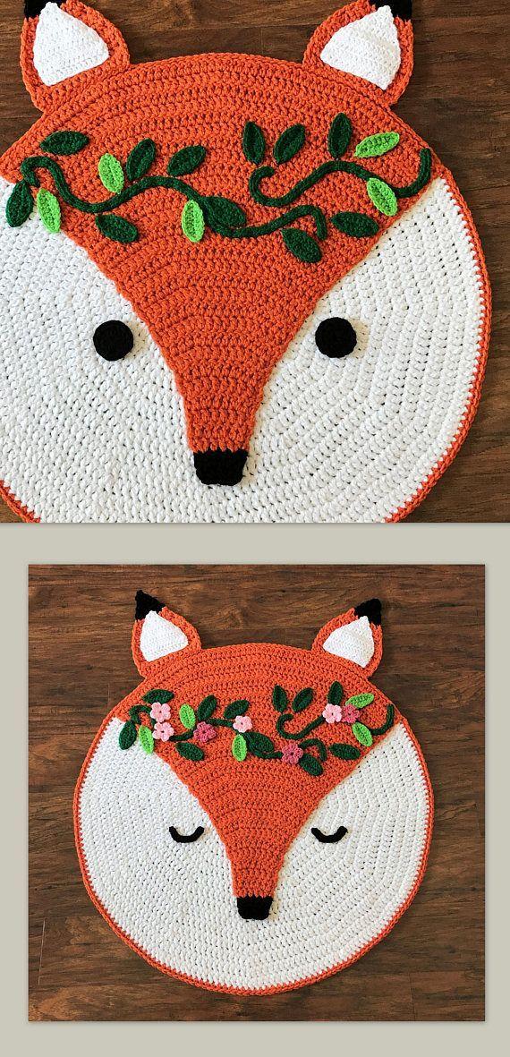 Crochet tapis motif – Crochet Fox – Woodland Fox tapis motif – Crochet pépinière tapis – tapis de chambre d'enfant – motifs au crochet par Deborah O'Leary   – Häkeln