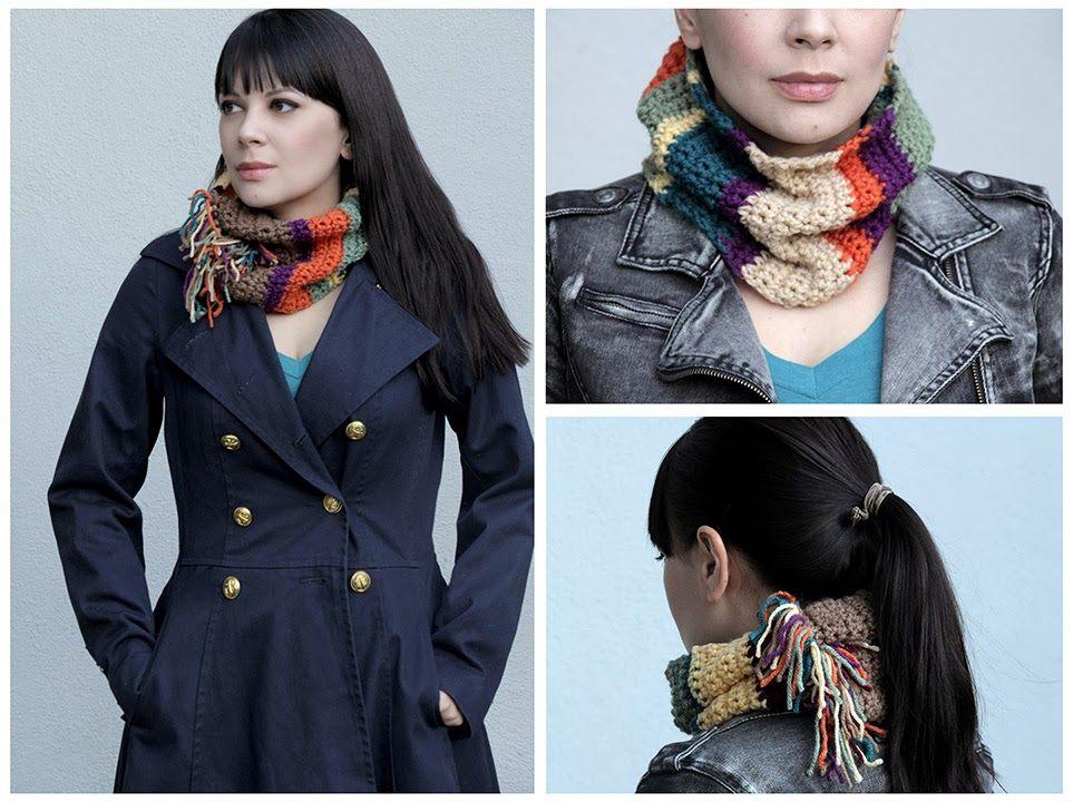 Bufanda Infinita Crochet de Colores - Patrones Crochet | Bufandas ...