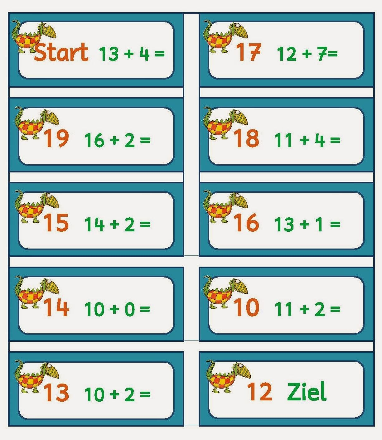 Mompitz Rechendomino bis 20   Mathe, Mathe unterrichten ...
