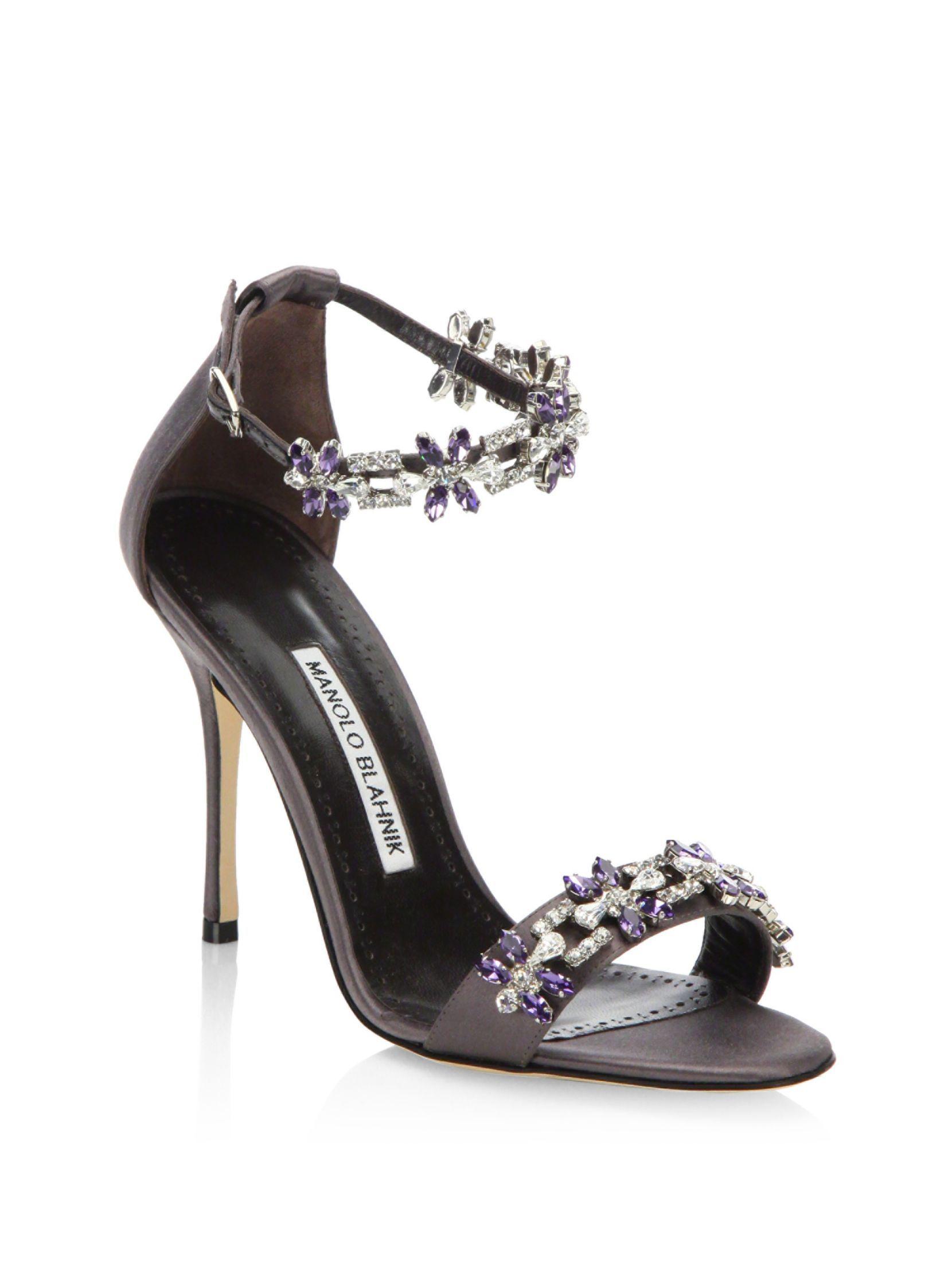 Manolo Blahnik Firaduo Embellished Satin Sandals, Gray