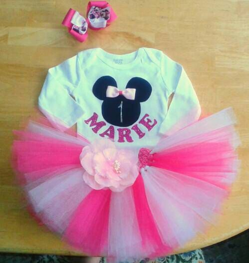 Check out this item in my Etsy shop https://www.etsy.com/listing/503362825/minnie-mouse-first-birthday-outfit-sizes