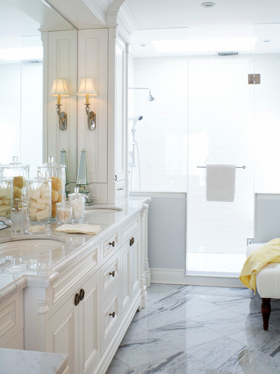 Gorgeous White Amp Blue Master Bathroom Design With Marble