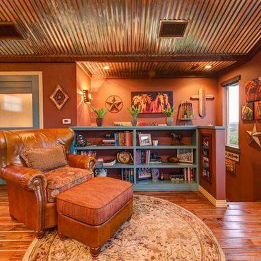 Southwestern Style Homes With Tin Roof And Leather Chair With ...