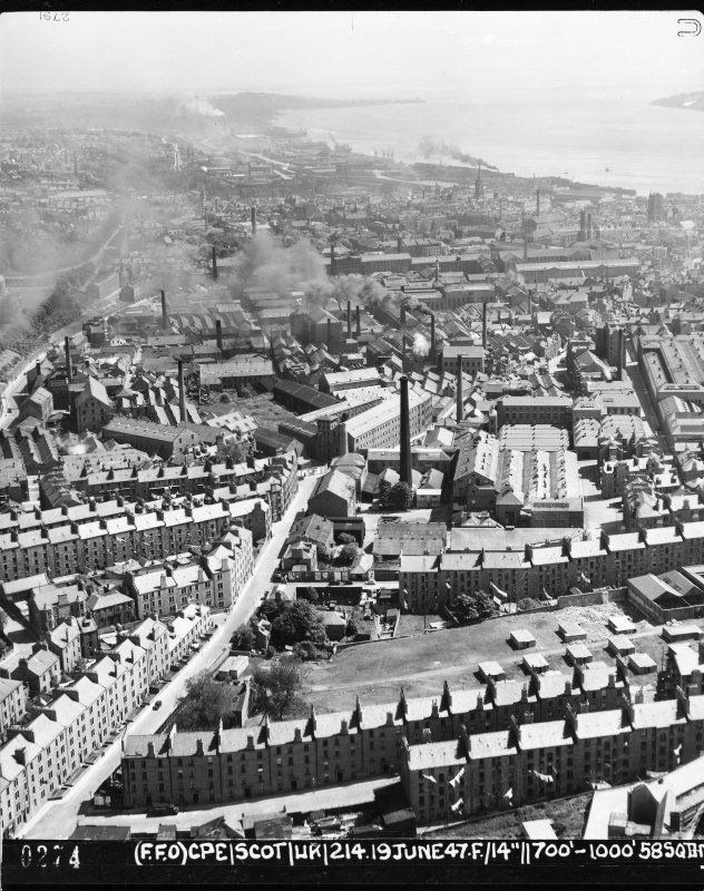 Oblique Aerial Photograph Of Dundee From NW In 1947 Showing Mills And Jute Works The