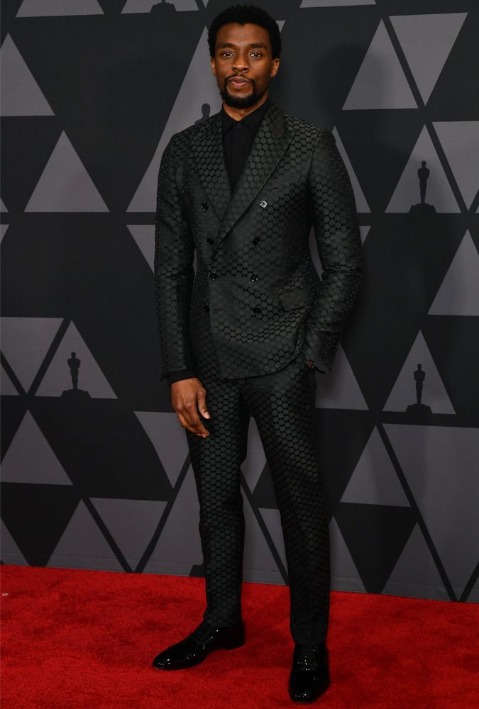 Chadwick Boseman wearing a polka dot suit at the 2017 Governors Awards |  dress clothes | Pinterest