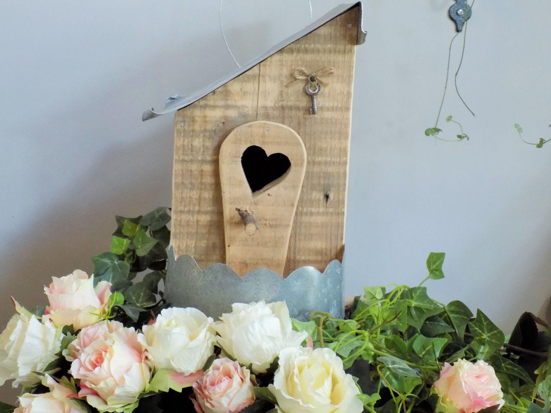 Nichoir-mangeoire en bois de palette et zinc ouverture coeur /clef ancienne décorative ...
