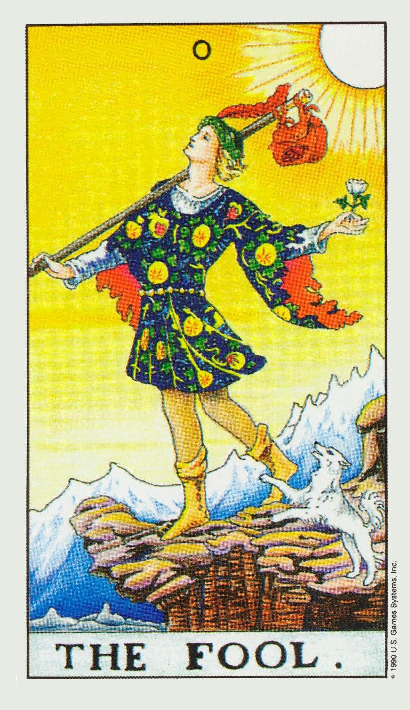 The fool with images rider waite tarot cards rider