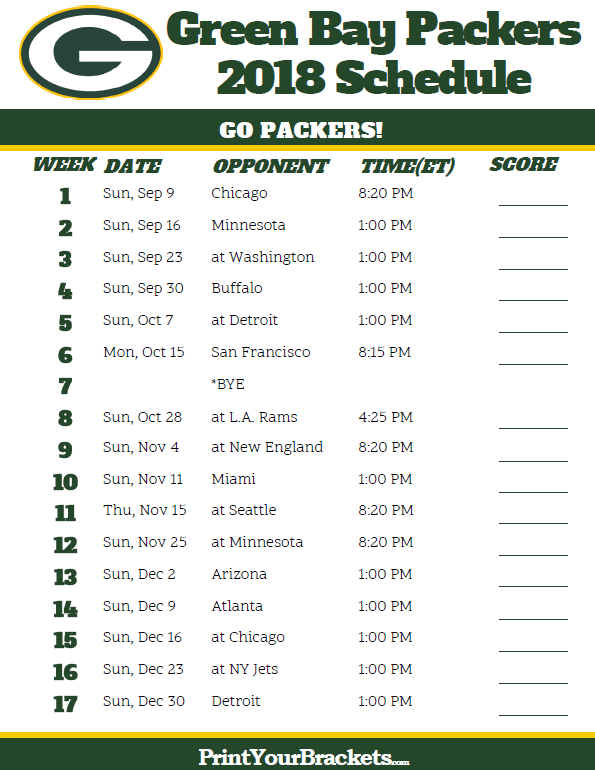 photo about Green Bay Packers Printable Schedule titled Printable 2018 Inexperienced Bay Packers Soccer Timetable