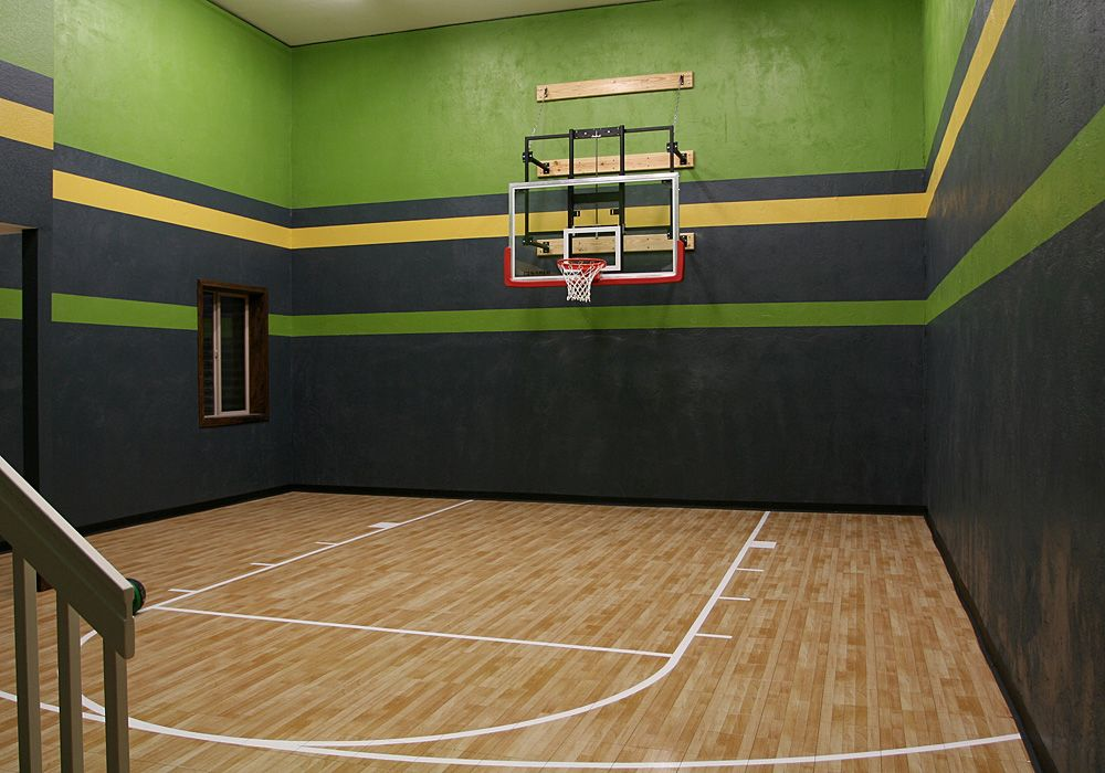 Indoor-Sport-Court-Basketball.18′ High Ceiling In The Basement