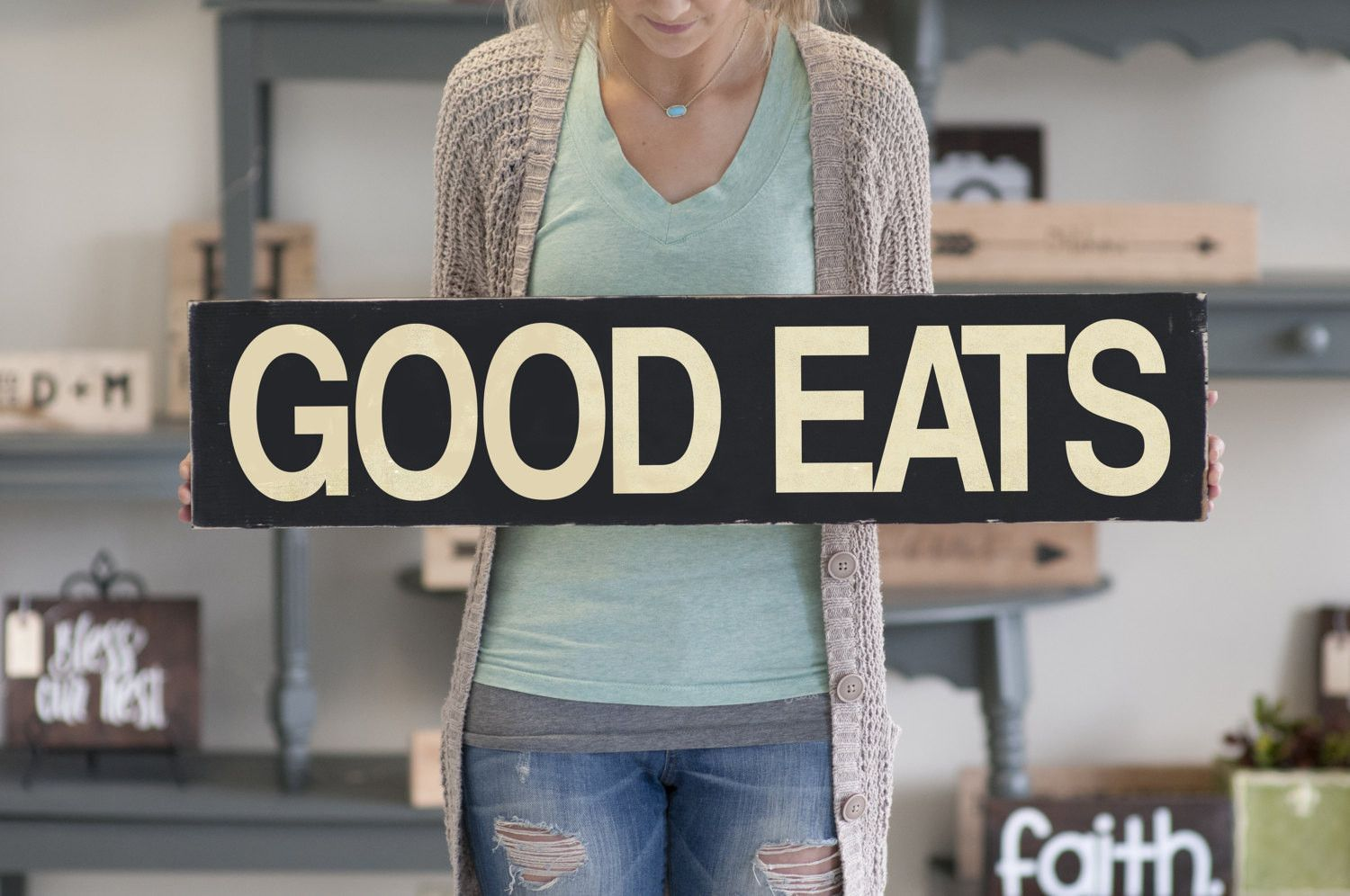 Farmhouse wood wall home decor sign good eats sign rustic dining