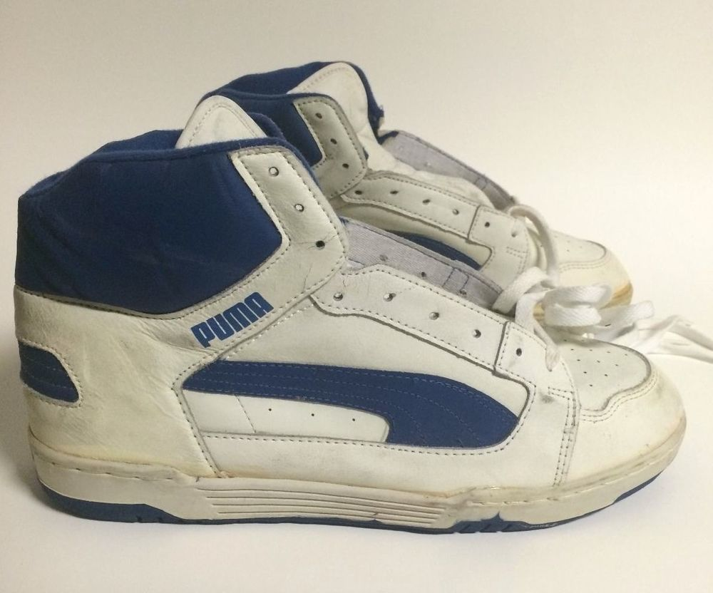 Puma Men S Leather Basketball Sneakers Vintage 80 S Shoes Size 11 5 White Blue Leather Men Sneakers 80s Shoes