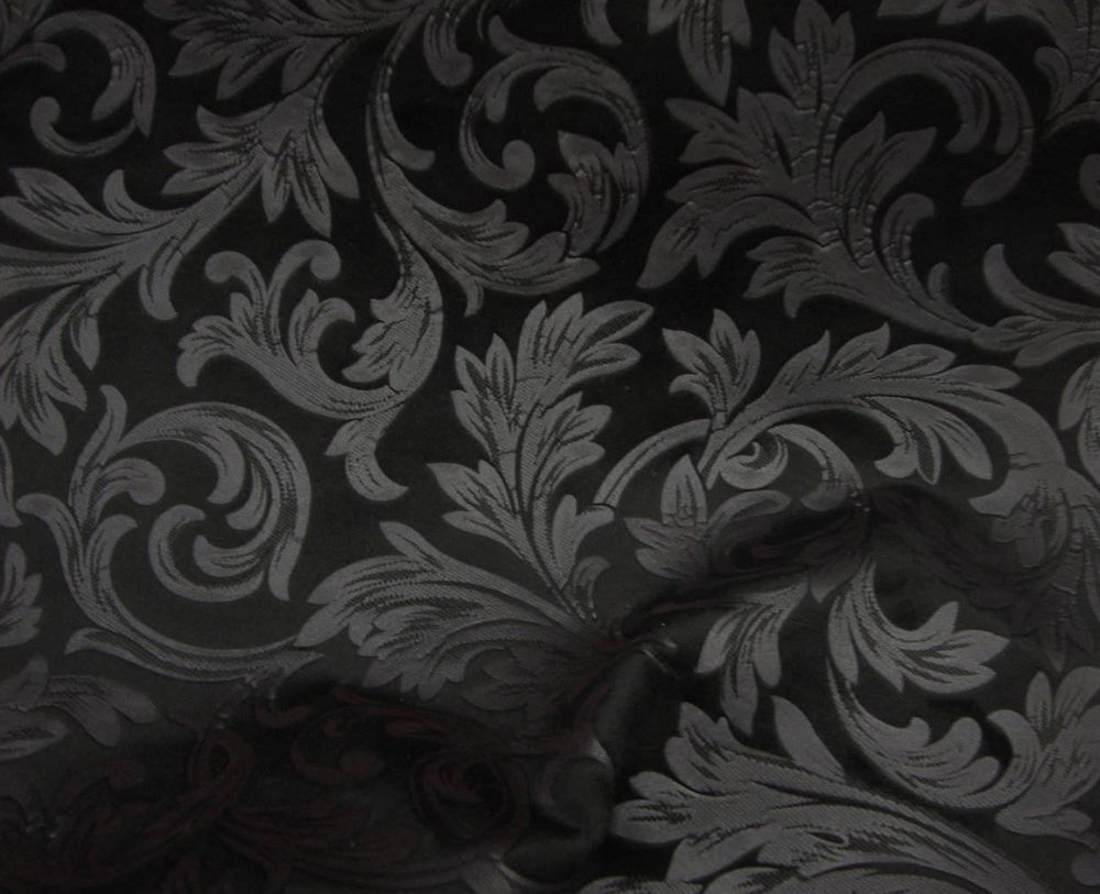 Black Floral Embossed Micro Velvet Upholstery Drapery Fabric Per Yard Drapery Fabric Fabric Black Floral