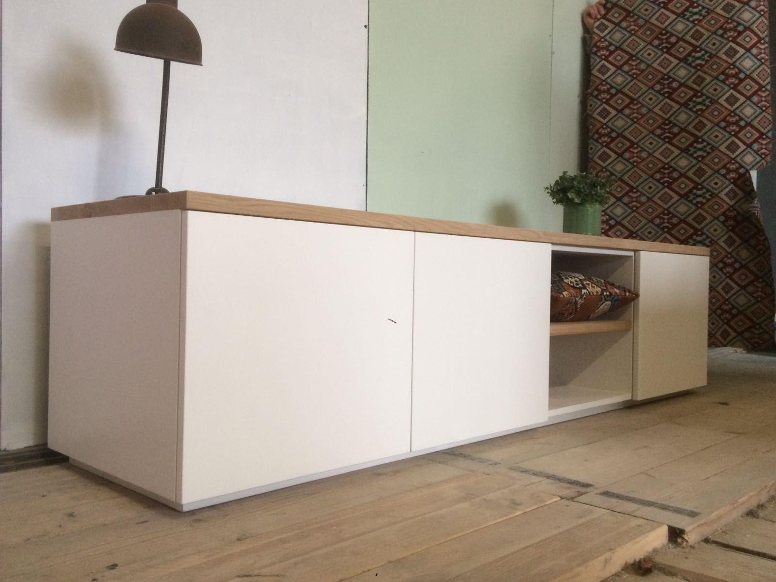 Tv Meubel Wit Houten Blad Modern greeploos tv meubel kaapstad met eiken houten bovenblad