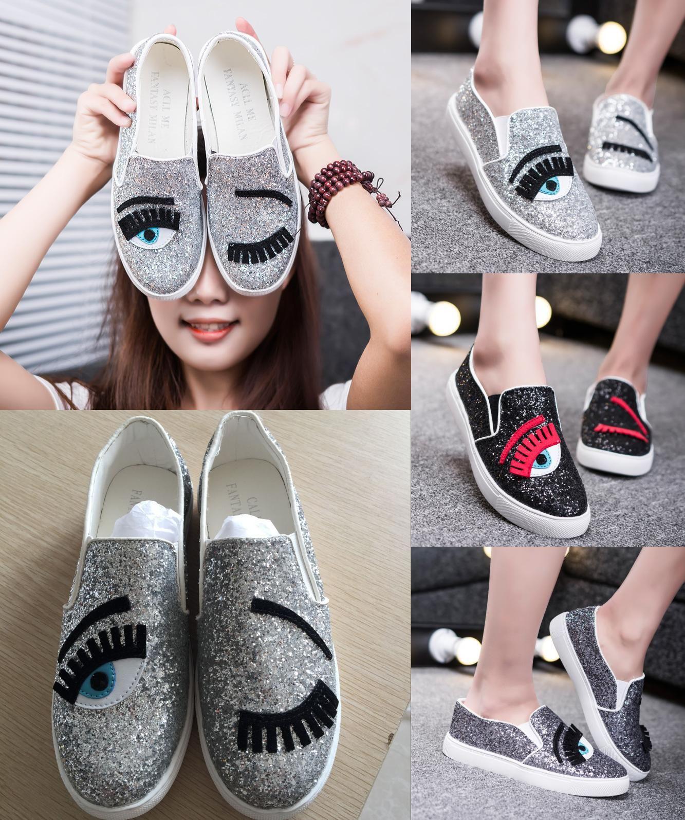 [Visit to Buy] 2016 Chiara Ferragni Flats Round Toe Zapatos Mujer Glitter  Eyelash Flat