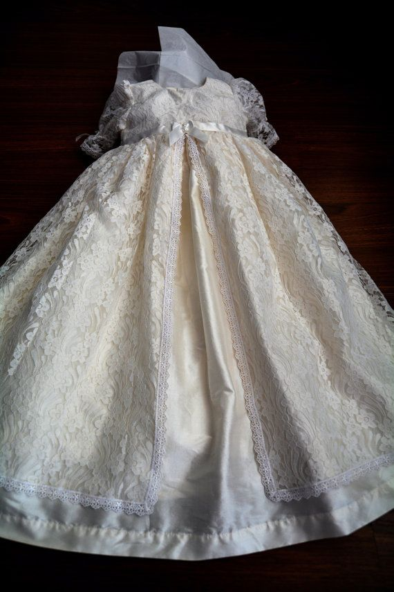 Madison Lace and Silk Christening gown set Baptism by Caremour ...