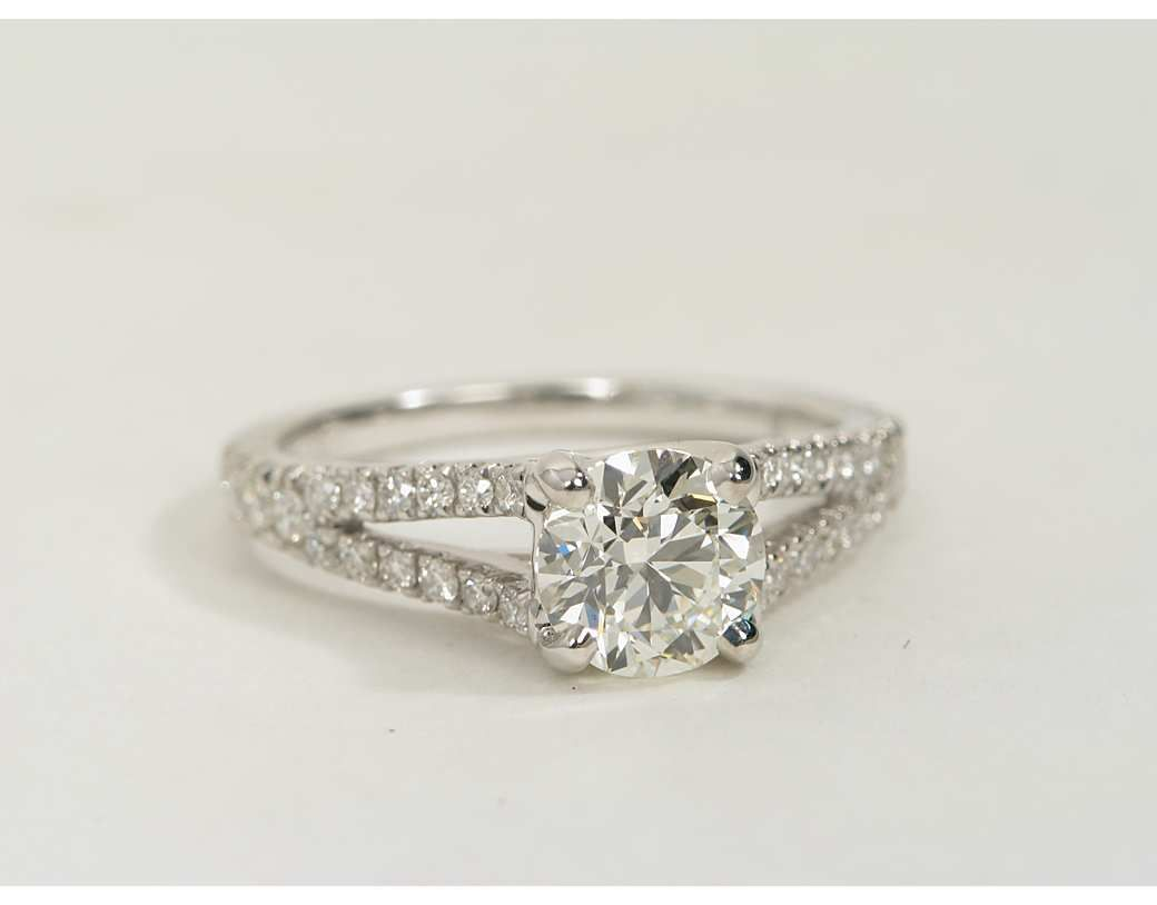 58eb2c1a345d0 Split Shank Trellis Diamond Engagement Ring in 14k White Gold (1 3 ct. tw.)