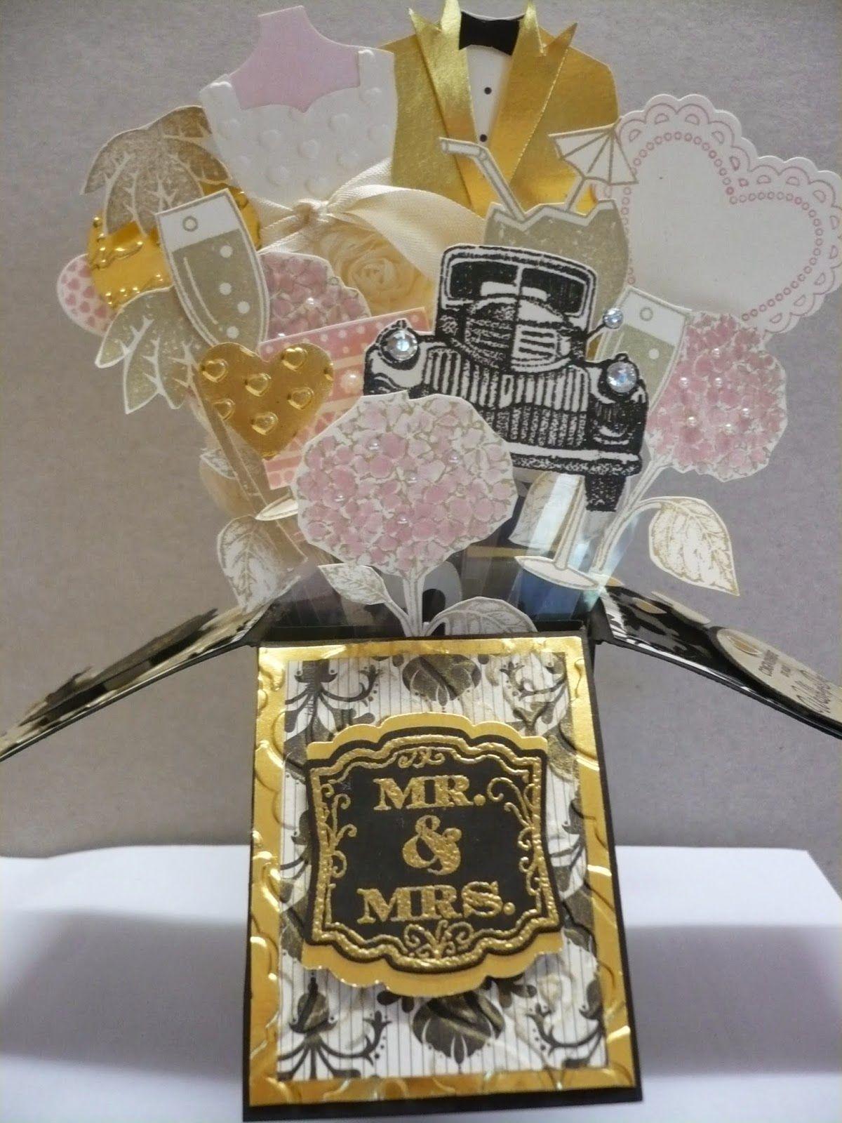 Wedding card in a box . Used dress up framelits , hearts framelits , vintage car stamp
