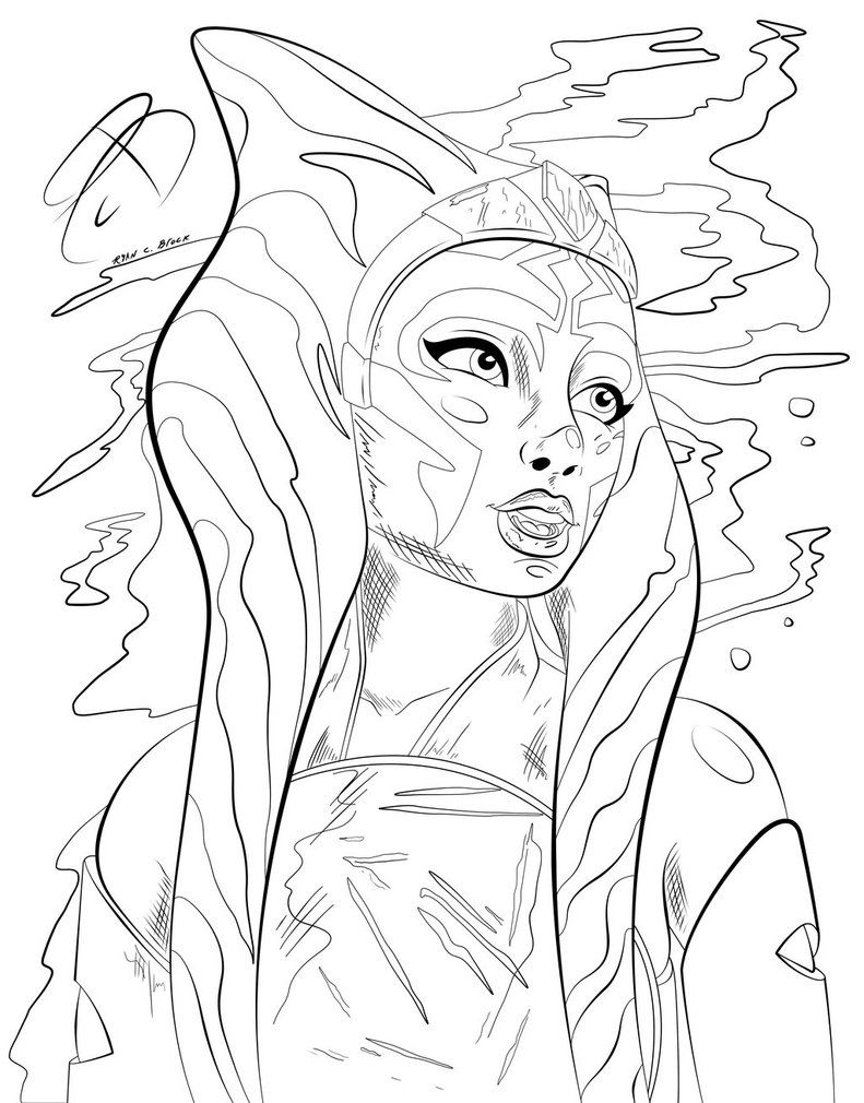 Coloring Pages Ahsoka Tano By Rcbrock Star Wars Drawings Star Wars Coloring Book Star Wars Art
