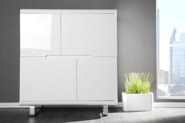Design Highboard Spacy Weiss Hochglanz Und Eiche 4 Turen Schrank Bei Www Riess Ambiente De Tall Cabinet Storage Storage Cabinet Decor