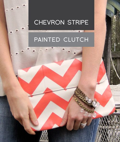 short of something: DIY Chevron Stripe Painted Clutch