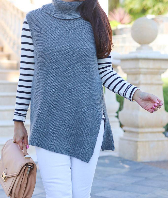 Asymmetrical Sleeveless Tunic Sweater and Stripes | Stylish Petite ...