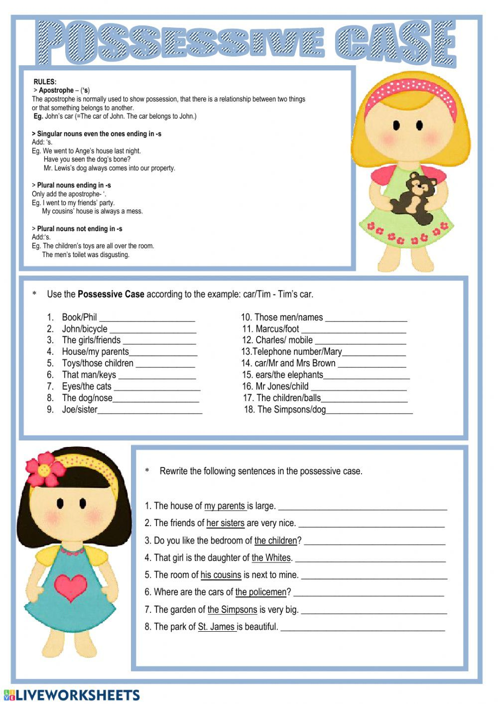 Nouns in Possessive case - Interactive worksheet   Possessive nouns  worksheets [ 1413 x 1000 Pixel ]