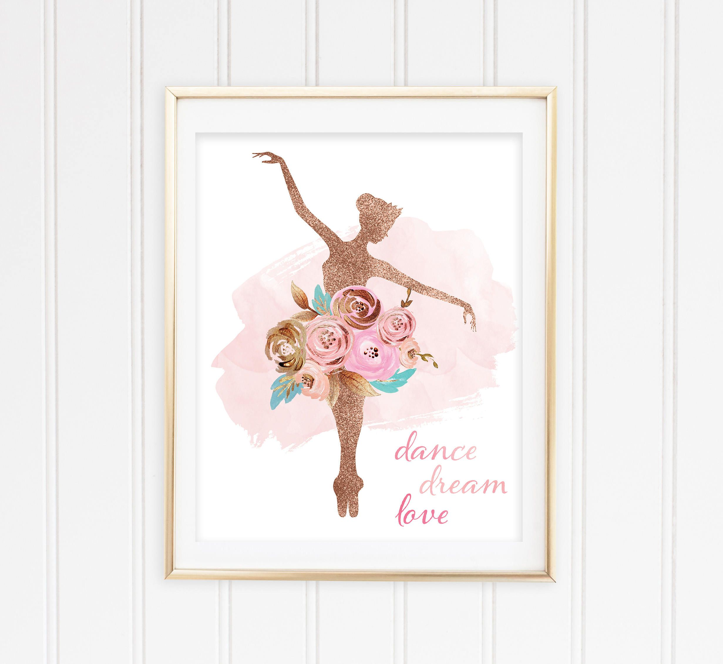 Ballerina gift girl room decor ballet print printable art dancer gift wall art print dance quote girls decor girl wall art by pinkpompomkids