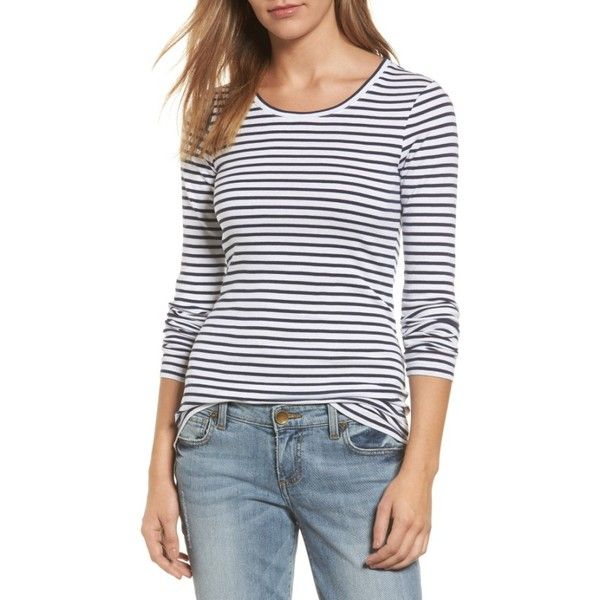 464ad0d3 Petite Women's Caslon Long Sleeve Scoop Neck Cotton Tee ($18) ❤ liked on  Polyvore featuring tops, t-shirts, petite, striped long sleeve tee, cotton  tee, ...